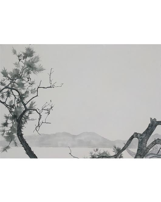 加白条-《翠松远山》50×70cm布面油画2016